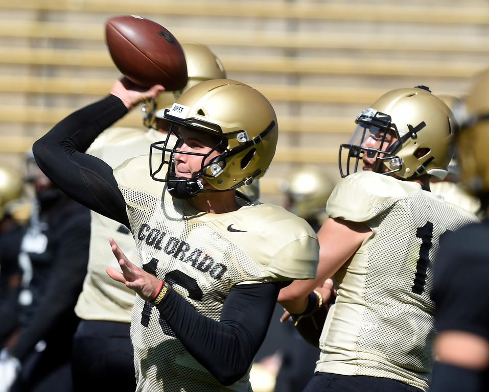 . Boulder, CO - AUGUST 11:  Blake Stenstrom during the University of Colorado football scrimmage on August 11, 2018.(Photo by Cliff Grassmick/Staff Photographer)