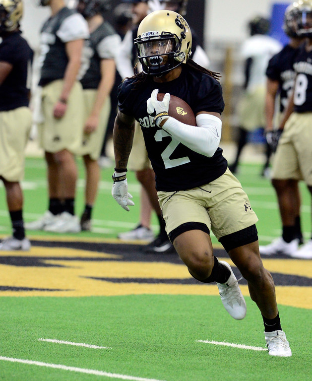 . University of Colorado\'s wide receiver Laviska Shenault Jr. runs with the ball during practice on the CU Boulder Campus on Friday. For more photos go to buffzone.com Paul Aiken Staff Photographer Feb 23 2018