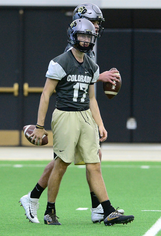. University of Colorado\'s quarterback Josh Goldin during practice on the CU Boulder Campus on Friday. For more photos go to buffzone.com Paul Aiken Staff Photographer Feb 23 2018