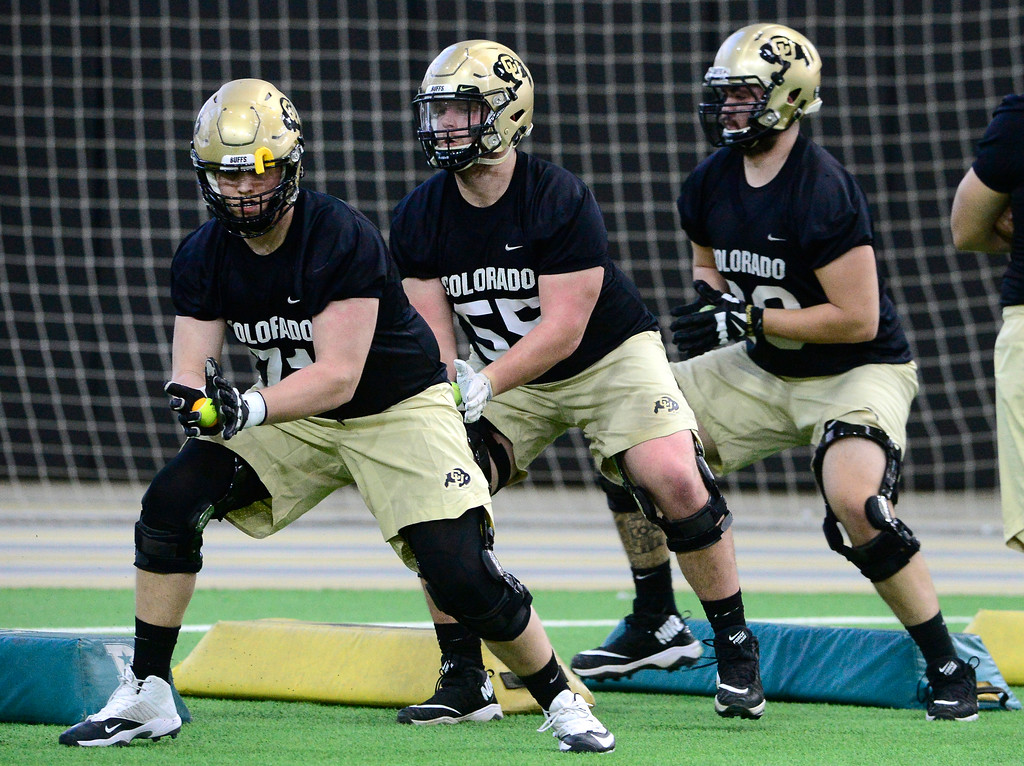 . University of Colorado\'s offensive linemen Jack Shutack, left,  and Brett Tonz during practice on the CU Boulder Campus on Friday. For more photos go to buffzone.com Paul Aiken Staff Photographer Feb 23 2018