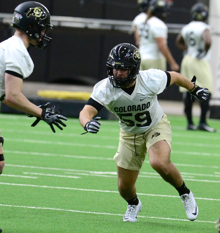 . University of Colorado\'s linebacker Colby Keiter in an agility drill during practice on the CU Boulder Campus on Friday. For more photos go to buffzone.com Paul Aiken Staff Photographer Feb 23 2018