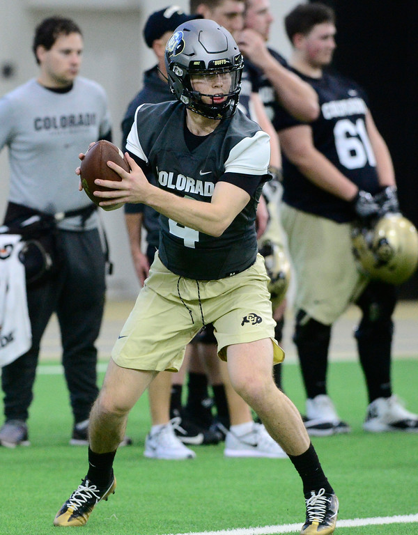 . University of Colorado\'s quarterback Sam Noyer during practice on the CU Boulder Campus on Friday. For more photos go to buffzone.com Paul Aiken Staff Photographer Feb 23 2018