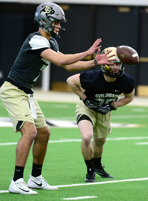 . University of Colorado\'s quarterback Tyer Lytle during practice on the CU Boulder Campus on Friday. For more photos go to buffzone.com Paul Aiken Staff Photographer Feb 23 2018
