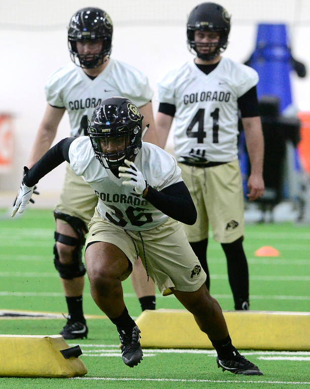 . University of Colorado\'s linebacker Akil Jones in an agility drill during practice on the CU Boulder Campus on Friday. For more photos go to buffzone.com Paul Aiken Staff Photographer Feb 23 2018