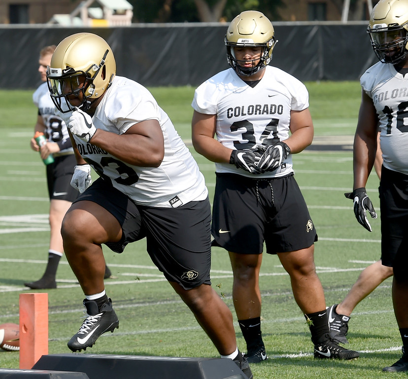 . Mustafa Johnson (34) watches Javier Edwards during CU Buffalo football practice on August 2, 2018. For more photos, go to buffzone.com. Cliff Grassmick  Staff Photographer  August 2, 2018
