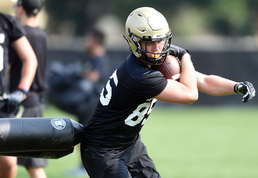 . Jared Poplawski during CU Buffalo football practice on August 2, 2018. For more photos, go to buffzone.com. Cliff Grassmick  Staff Photographer  August 2, 2018