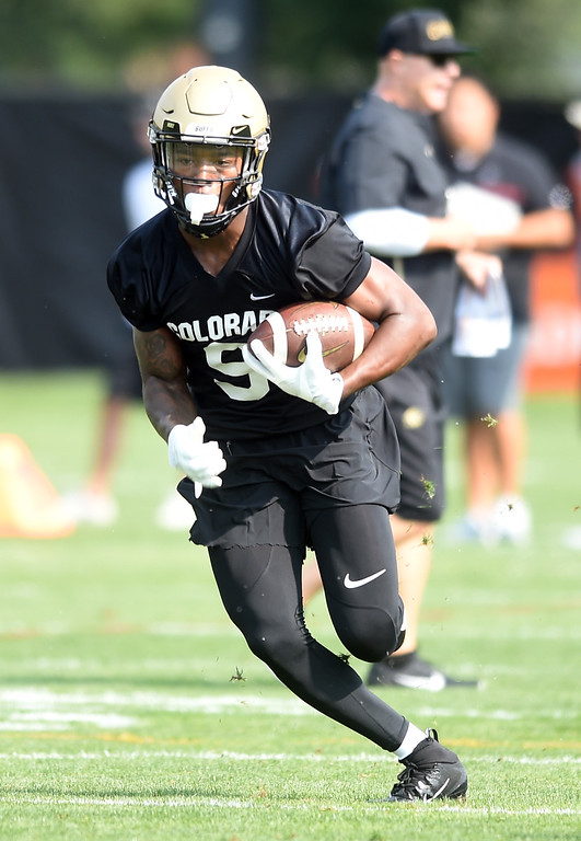 . Juwann Winfree during CU Buffalo football practice on August 2, 2018. For more photos, go to buffzone.com. Cliff Grassmick  Staff Photographer  August 2, 2018