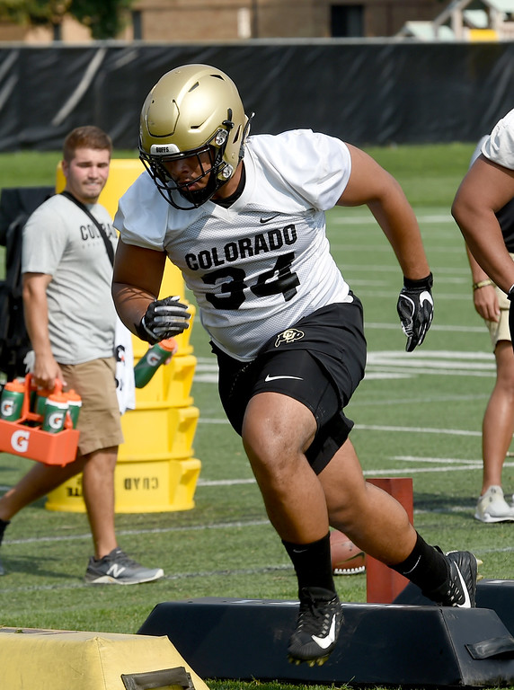 . Mustafa Johnson, D-lineman, during CU Buffalo football practice on August 2, 2018. For more photos, go to buffzone.com. Cliff Grassmick  Staff Photographer  August 2, 2018