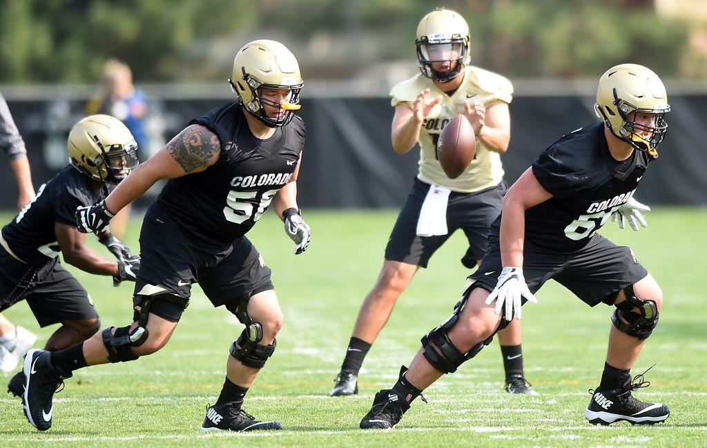 . Tim Lynott, Jr. left, and Colby Purcell on the O-line during CU Buffalo football practice on August 2, 2018. For more photos, go to buffzone.com. Cliff Grassmick  Staff Photographer  August 2, 2018
