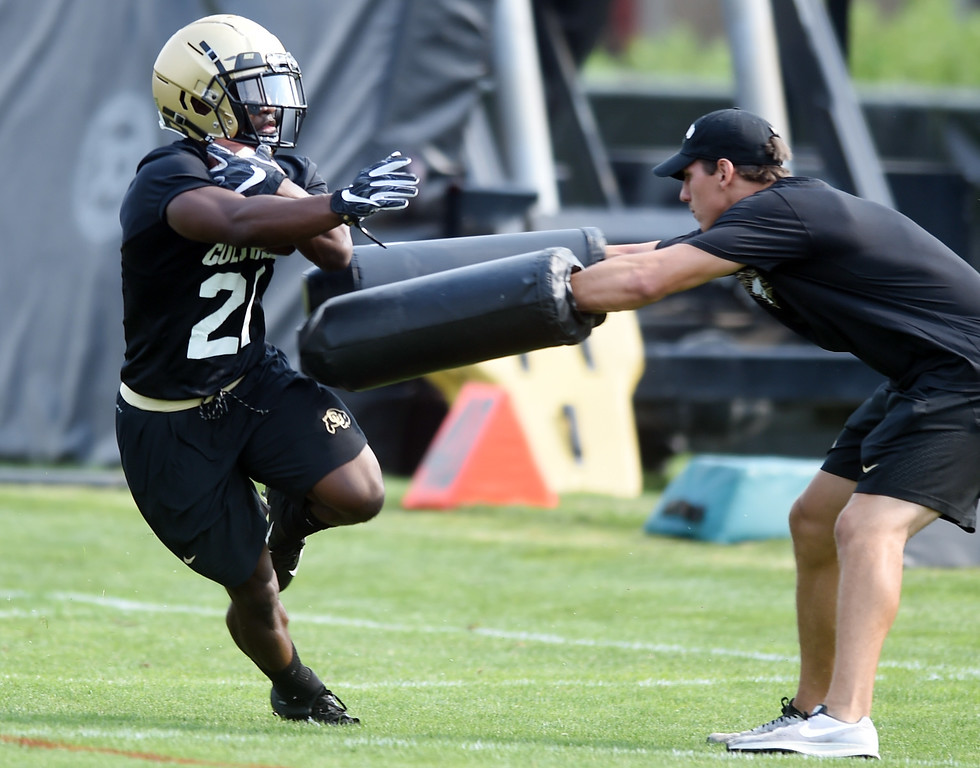 . Kyle Evans during CU Buffalo football practice on August 2, 2018. For more photos, go to buffzone.com. Cliff Grassmick  Staff Photographer  August 2, 2018