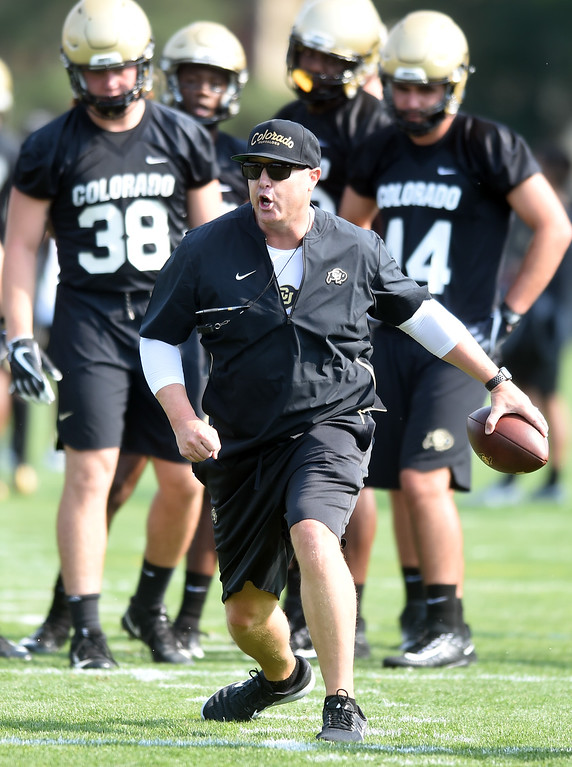 . Offensive Coordinator, Darrin Chiaverini, during CU Buffalo football practice on August 2, 2018. For more photos, go to buffzone.com. Cliff Grassmick  Staff Photographer  August 2, 2018