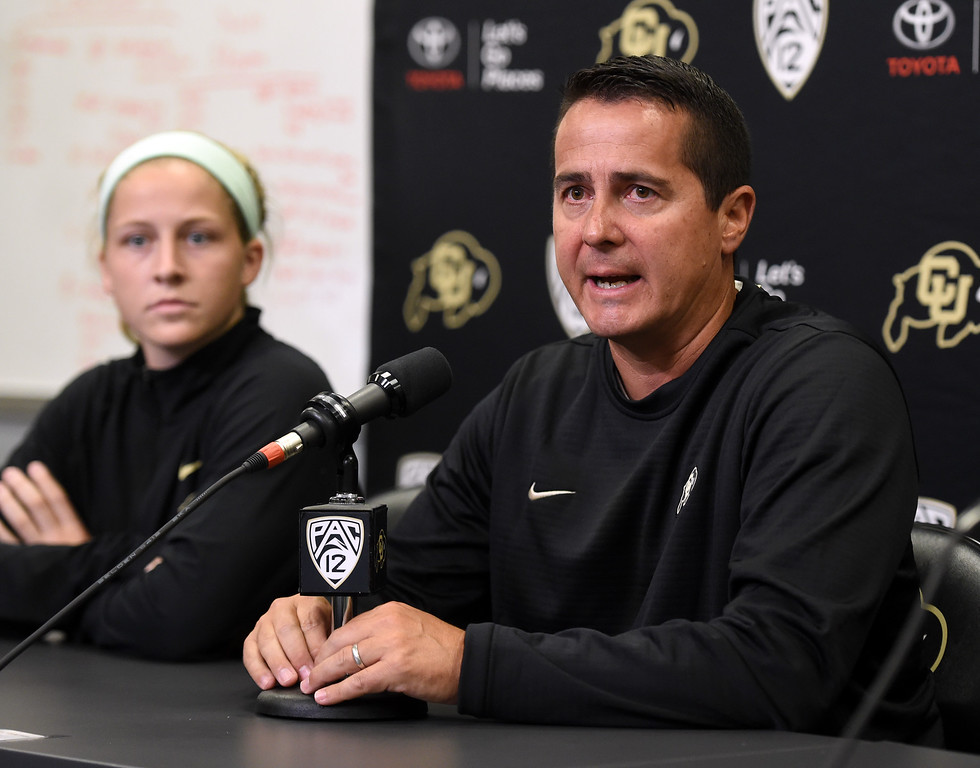 . CU soccer coach, Danny Sanchez, during CU football and Fall sports media day. For more photos, go to dailycamera.com. Cliff Grassmick  Staff Photographer  August 4, 2018