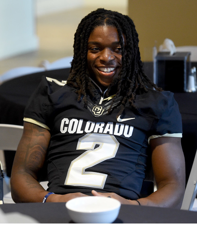 . Laviska Shenault during CU football and Fall sports media day. For more photos, go to dailycamera.com. Cliff Grassmick  Staff Photographer  August 4, 2018