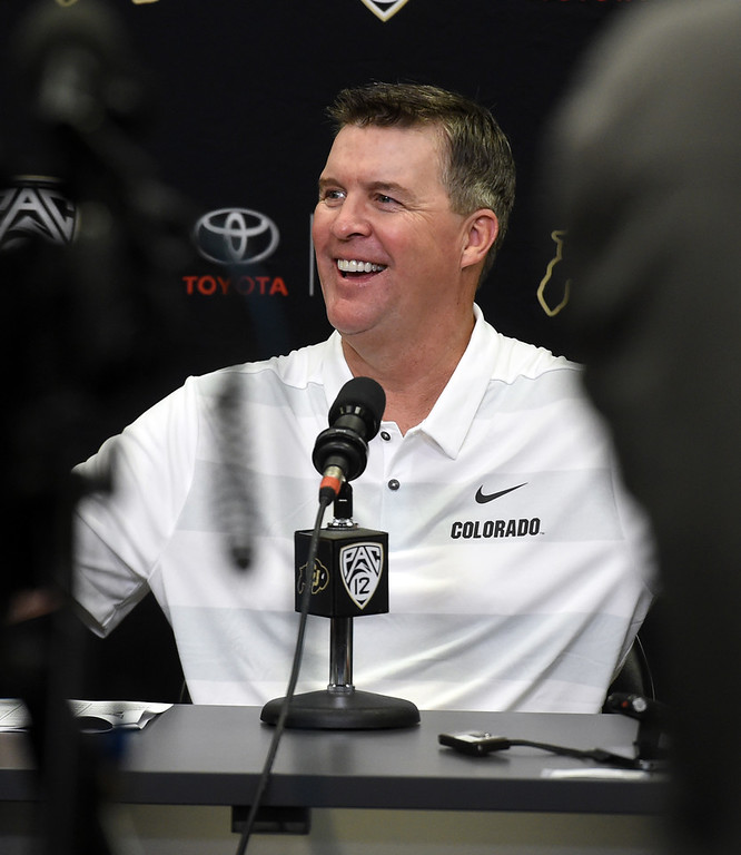 . CU head football coach, Mike MacIntyre, during CU football and Fall sports media day. For more photos, go to dailycamera.com. Cliff Grassmick  Staff Photographer  August 4, 2018