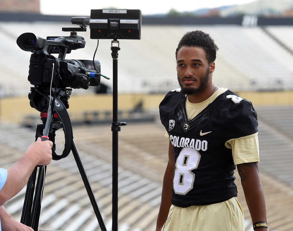 . Alex Fontenot during CU football and Fall sports media day. For more photos, go to dailycamera.com. Cliff Grassmick  Staff Photographer  August 4, 2018