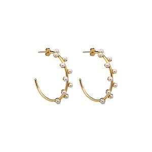 Pearl hoop ear gold