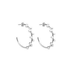 Pearl hoop ear silver