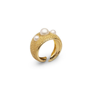 Pearl bubble ring gold