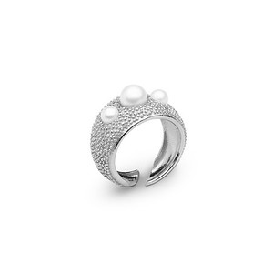 Pearl bubble ring silver