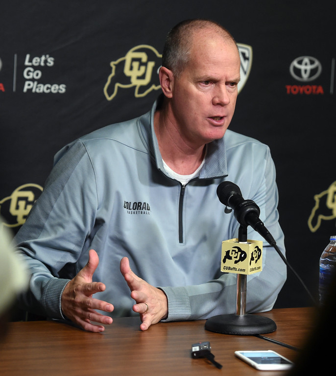 . CU MBB head coach, Tad Boyle, talks to the media on Wednesday. For more photos, go to buffzone.com. Cliff Grassmick  Staff Photographer October 18, 2017