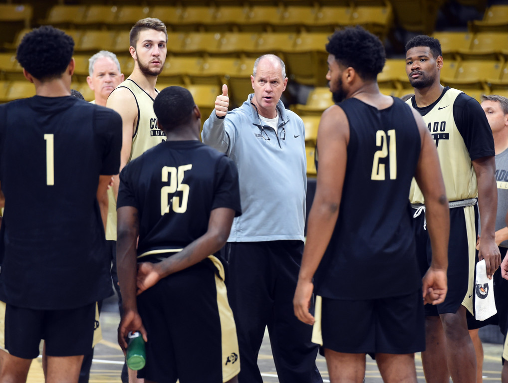 . CU MBB head coach, Tad Boyle, talks to his players Wednesday. For more photos, go to buffzone.com. Cliff Grassmick  Staff Photographer October 18, 2017