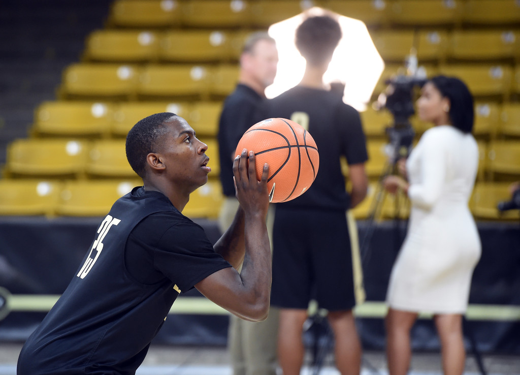 . McKinley Wright IV takes a shot during media day practice on Wednesday. For more photos, go to buffzone.com. Cliff Grassmick  Staff Photographer October 18, 2017