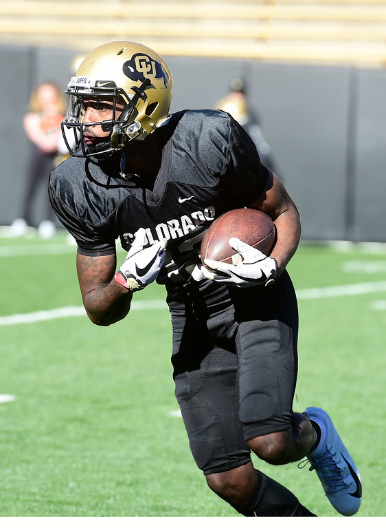 . BOULDER, CO - April 19, 2019: Maurice Bell  during Spring practice on April 19, 2019. (Photo by Cliff Grassmick/Staff Photographer)