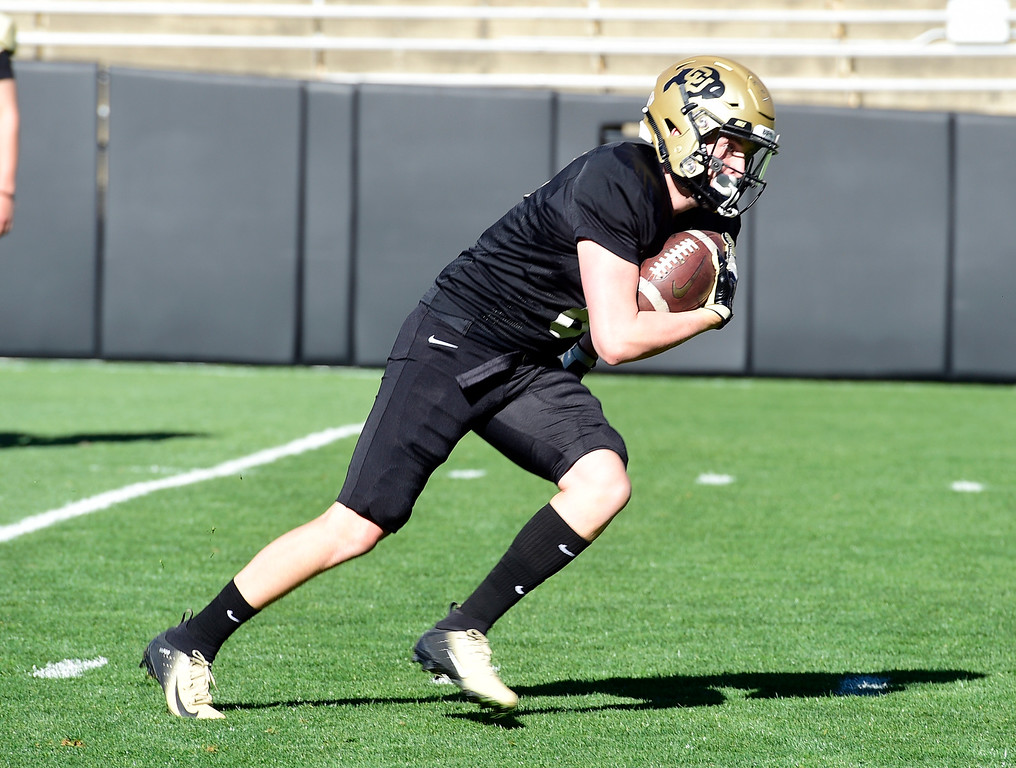 . BOULDER, CO - April 19, 2019:  Curtis Chiaverini during Spring practice on April 19, 2019. (Photo by Cliff Grassmick/Staff Photographer)