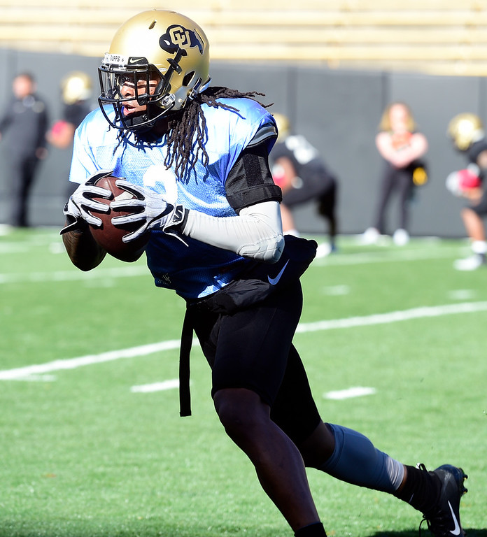 . BOULDER, CO - April 19, 2019: Laviska Shenault  during Spring practice on April 19, 2019. (Photo by Cliff Grassmick/Staff Photographer)