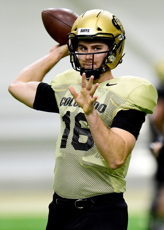 . BOULDER, CO - MARCH 22:University of Colorado\'s Blake Stenstrom (No. 16) during spring football practice at the Champions Center indoor practice fields in Boulder on March 22, 2019. (Photo by Matthew Jonas/Staff Photographer)