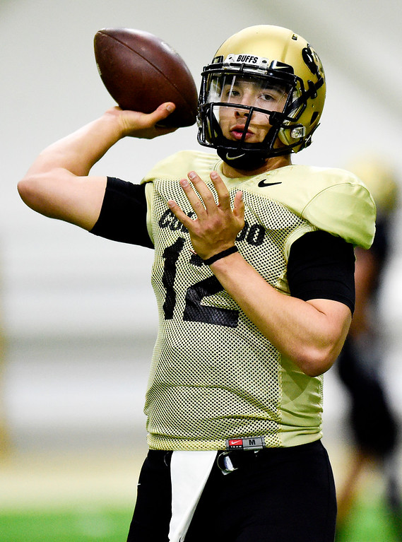 . BOULDER, CO - MARCH 22:University of Colorado\'s Steven Montez (No. 12) during spring football practice at the Champions Center indoor practice fields in Boulder on March 22, 2019. (Photo by Matthew Jonas/Staff Photographer)