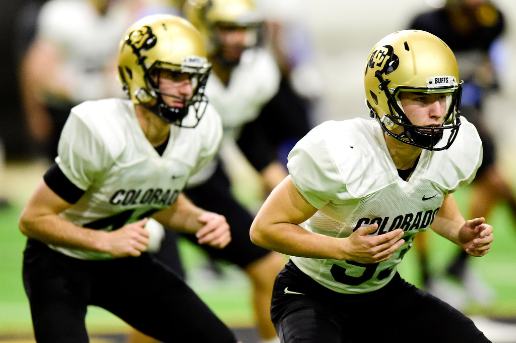 . BOULDER, CO - MARCH 22:University of Colorado\'s Tyler Francis (No. 93) during spring football practice at the Champions Center indoor practice fields in Boulder on March 22, 2019. (Photo by Matthew Jonas/Staff Photographer)
