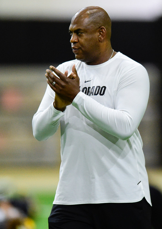 . BOULDER, CO - MARCH 22:University of Colorado\'s head football coach Mel Tucker during spring football practice at the Champions Center indoor practice fields in Boulder on March 22, 2019. (Photo by Matthew Jonas/Staff Photographer)