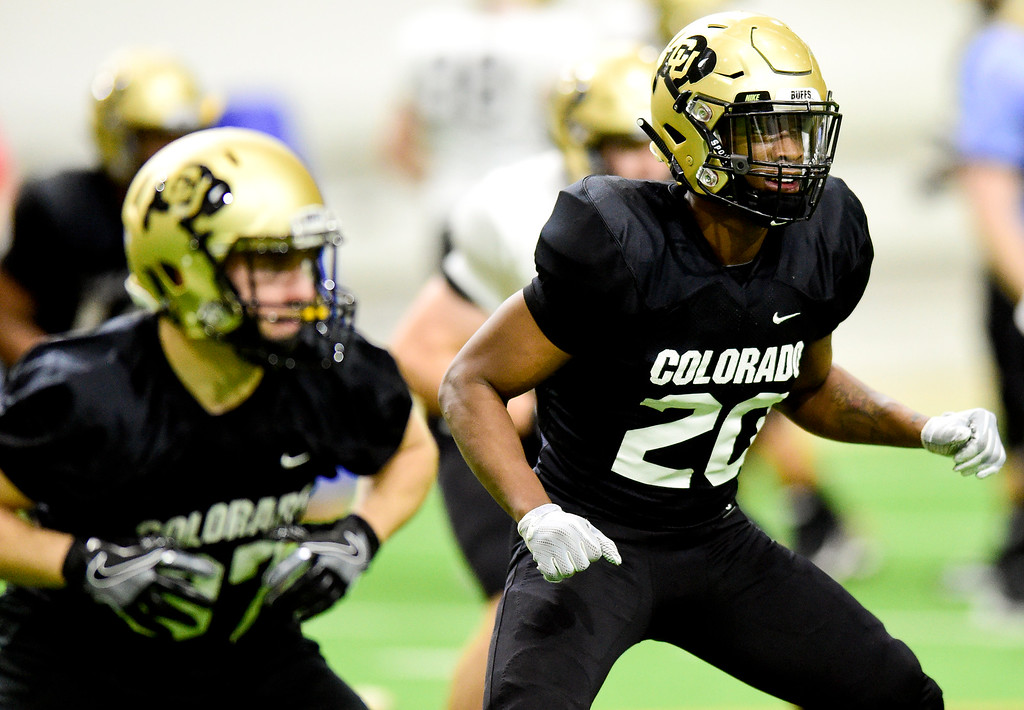 . BOULDER, CO - MARCH 22:University of Colorado\'s Deion Smith (No. 20) during spring football practice at the Champions Center indoor practice fields in Boulder on March 22, 2019. (Photo by Matthew Jonas/Staff Photographer)