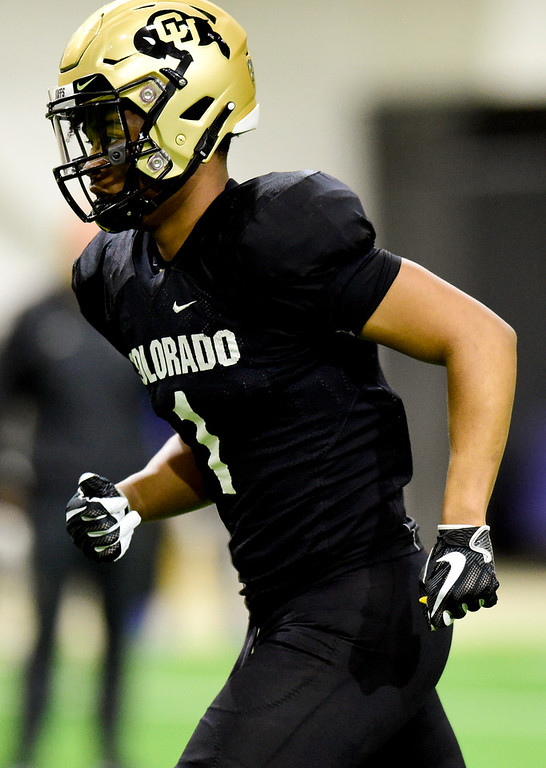. BOULDER, CO - MARCH 22:University of Colorado\'s Jaren Mangham (No. 1) during spring football practice at the Champions Center indoor practice fields in Boulder on March 22, 2019. (Photo by Matthew Jonas/Staff Photographer)