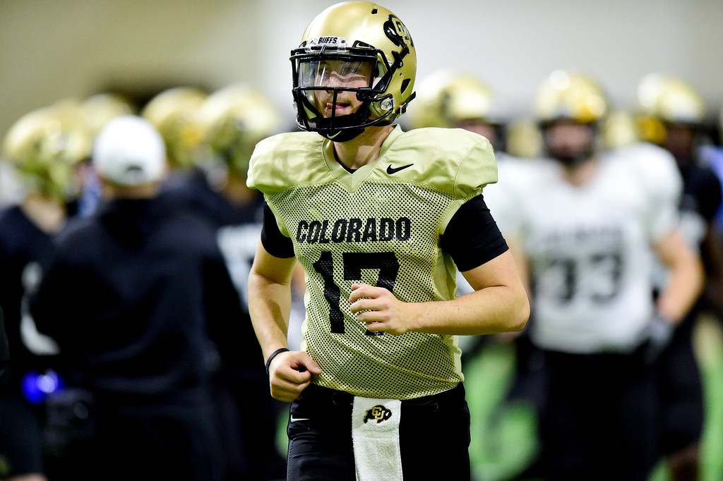 . BOULDER, CO - MARCH 22:University of Colorado\'s Josh Goldin (No. 17) during spring football practice at the Champions Center indoor practice fields in Boulder on March 22, 2019. (Photo by Matthew Jonas/Staff Photographer)