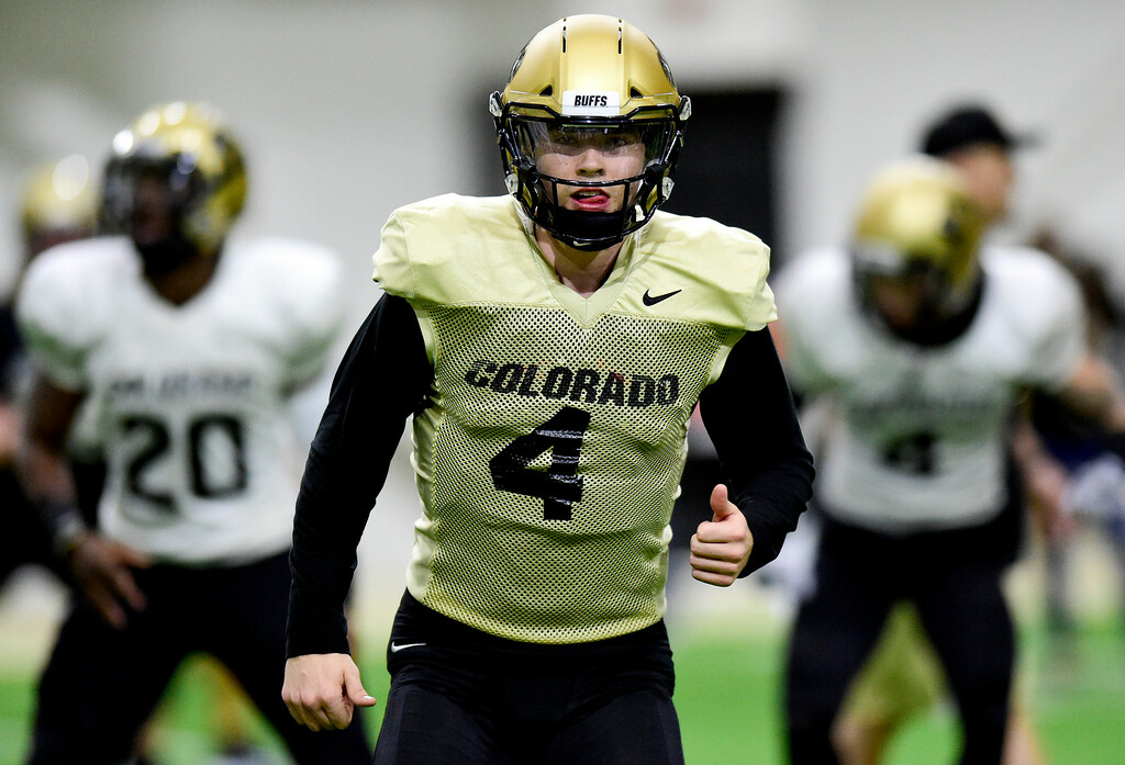 . BOULDER, CO - MARCH 22:University of Colorado\'s Sam Noyer (No. 4) during spring football practice at the Champions Center indoor practice fields in Boulder on March 22, 2019. (Photo by Matthew Jonas/Staff Photographer)