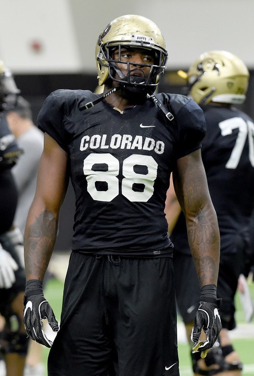 . BOULDER, CO - April 10, 2019:  Darrion Jones during Spring CU football practice. (Photo by Cliff Grassmick/Staff Photographer)