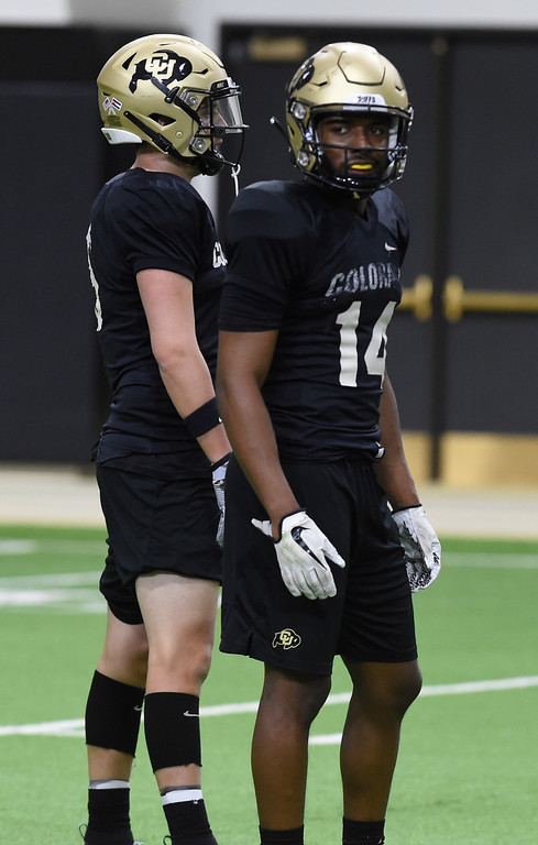 . BOULDER, CO - April 10, 2019: Dimitri Stanley during Spring CU football practice. (Photo by Cliff Grassmick/Staff Photographer)