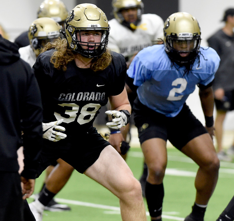 . BOULDER, CO - April 10, 2019:  Brady Russell during Spring CU football practice. (Photo by Cliff Grassmick/Staff Photographer)