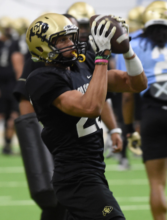 . BOULDER, CO - April 10, 2019: Daniel Arias  during Spring CU football practice. (Photo by Cliff Grassmick/Staff Photographer)