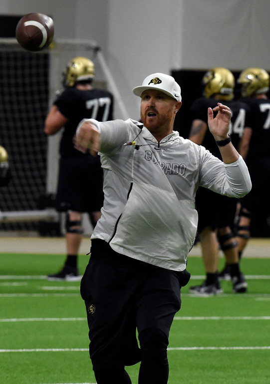 . BOULDER, CO - April 10, 2019: Darrin Chiaverini during Spring CU football practice. (Photo by Cliff Grassmick/Staff Photographer)
