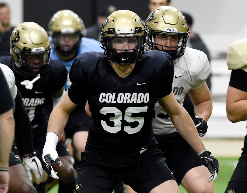 . BOULDER, CO - April 10, 2019: Beau Bisharat during Spring CU football practice. (Photo by Cliff Grassmick/Staff Photographer)