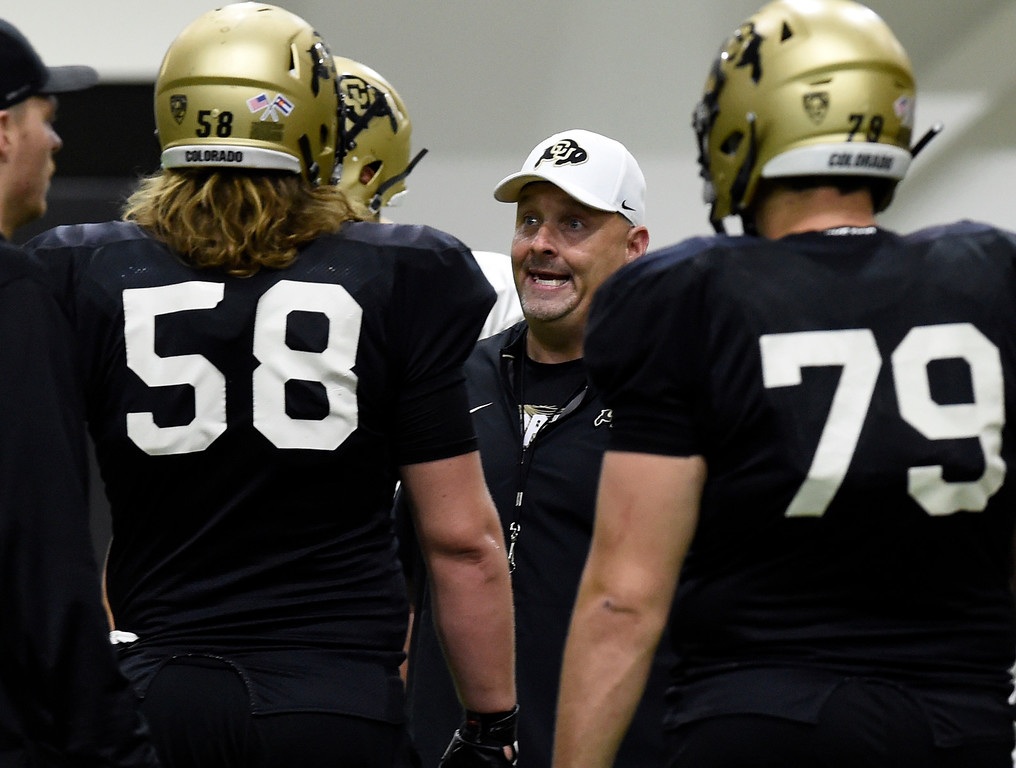. BOULDER, CO - April 10, 2019:  Assistant coach, Chris Kapilovic, during Spring CU football practice. (Photo by Cliff Grassmick/Staff Photographer)