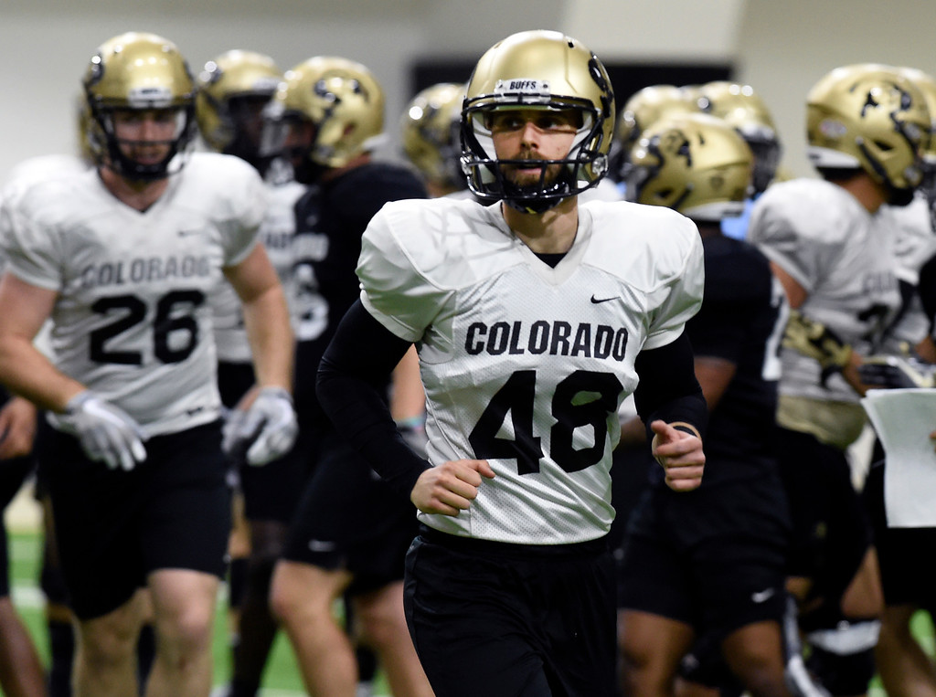 . BOULDER, CO - April 10, 2019: James Stefanou during Spring CU football practice. (Photo by Cliff Grassmick/Staff Photographer)