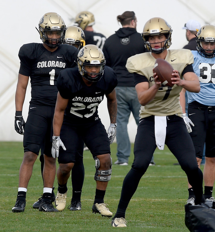 . BOULDER, CO - April 5, 2019: RB\'s Jaren Mangham(1) and Jarek Broussard (23),  during University of Colorado Spring football practice on April 5, 2019. (Photo by Cliff Grassmick/Staff Photographer)