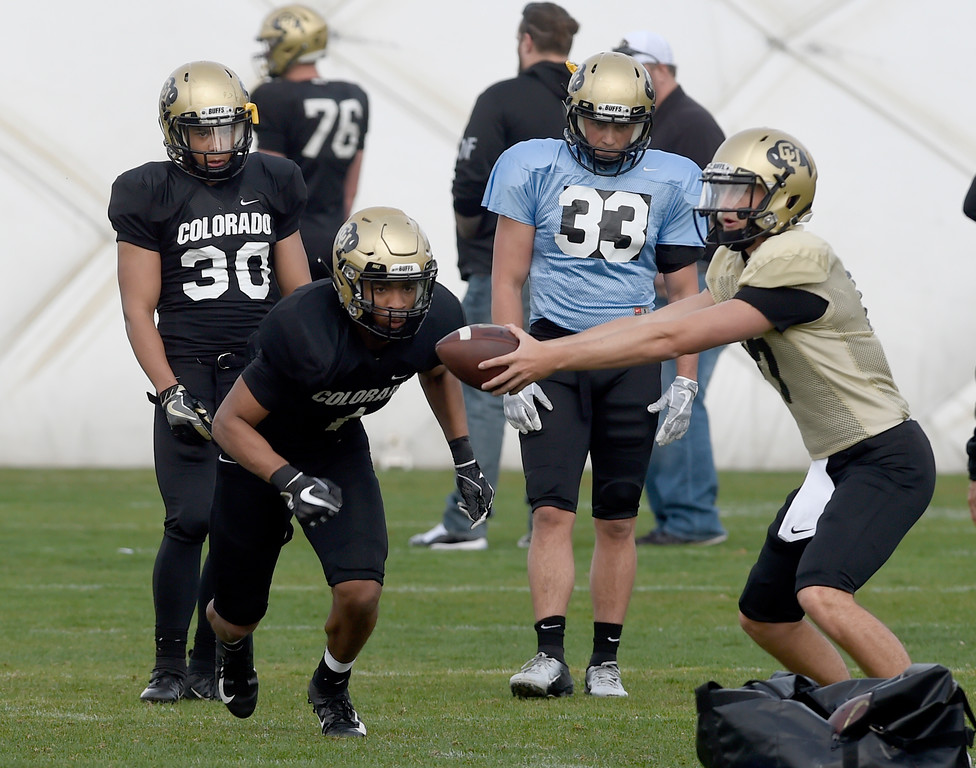 . BOULDER, CO - April 5, 2019:  RB\'s  Jarek Broussard (23) and Noa Lukela (30),  during University of Colorado Spring football practice on April 5, 2019. (Photo by Cliff Grassmick/Staff Photographer)