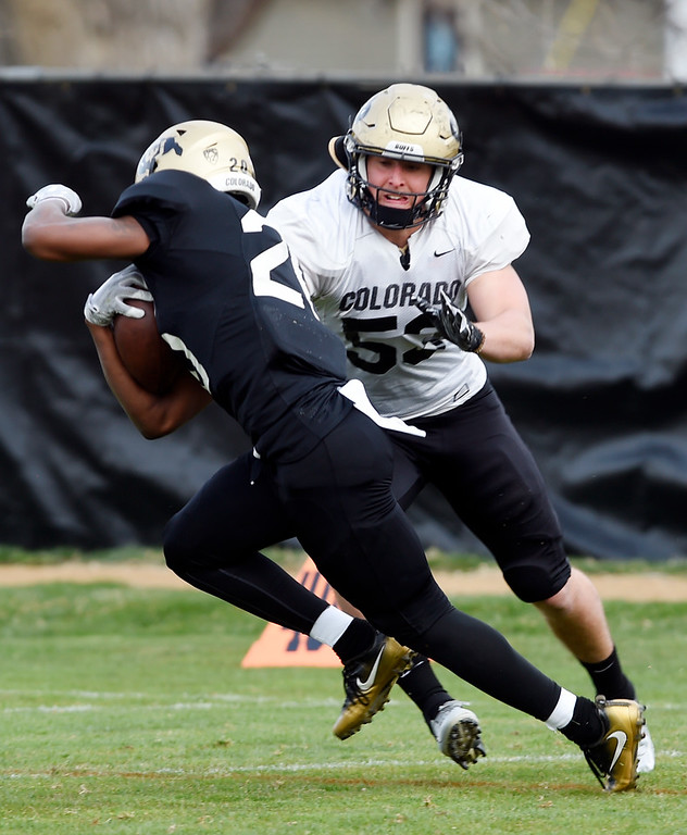 . BOULDER, CO - April 5, 2019: Inside linebacker, Nate Landman, zeros in on Deion Smith,  during University of Colorado Spring football practice on April 5, 2019. (Photo by Cliff Grassmick/Staff Photographer)
