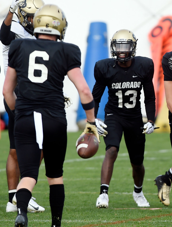 . BOULDER, CO - April 5, 2019:  Maurice Bell (13) during University of Colorado Spring football practice on April 5, 2019. (Photo by Cliff Grassmick/Staff Photographer)