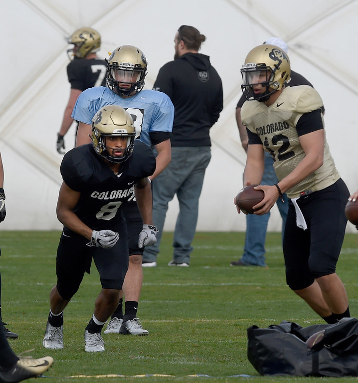 . BOULDER, CO - April 5, 2019: RB Alex Fontenot  during University of Colorado Spring football practice on April 5, 2019. (Photo by Cliff Grassmick/Staff Photographer)